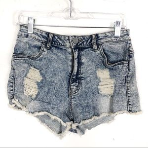 RSQ High Rise Distressed Faded Denim Booty Shorts